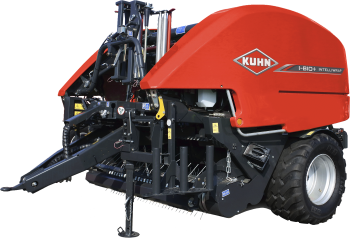 KUHN i-BIO+ round baler-wrapper combination silhouette