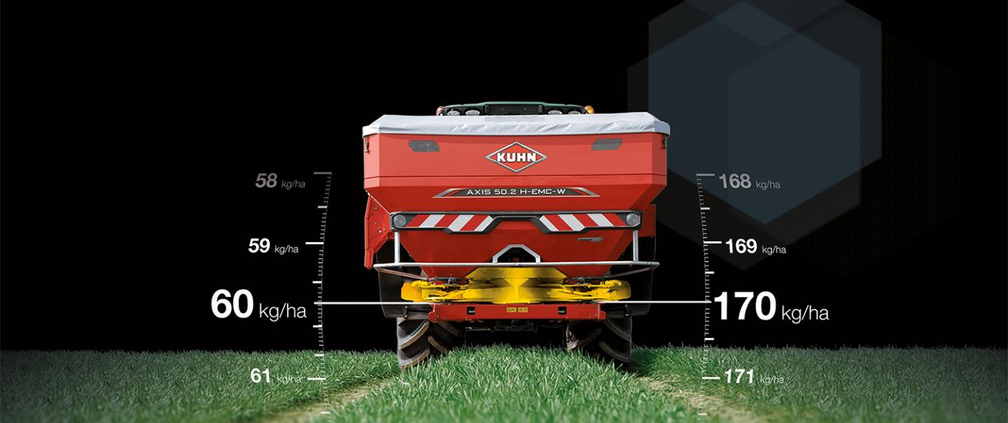 Promotional visual for EMC 20 Years with the AXIS H-MC Wfertiliser spreader